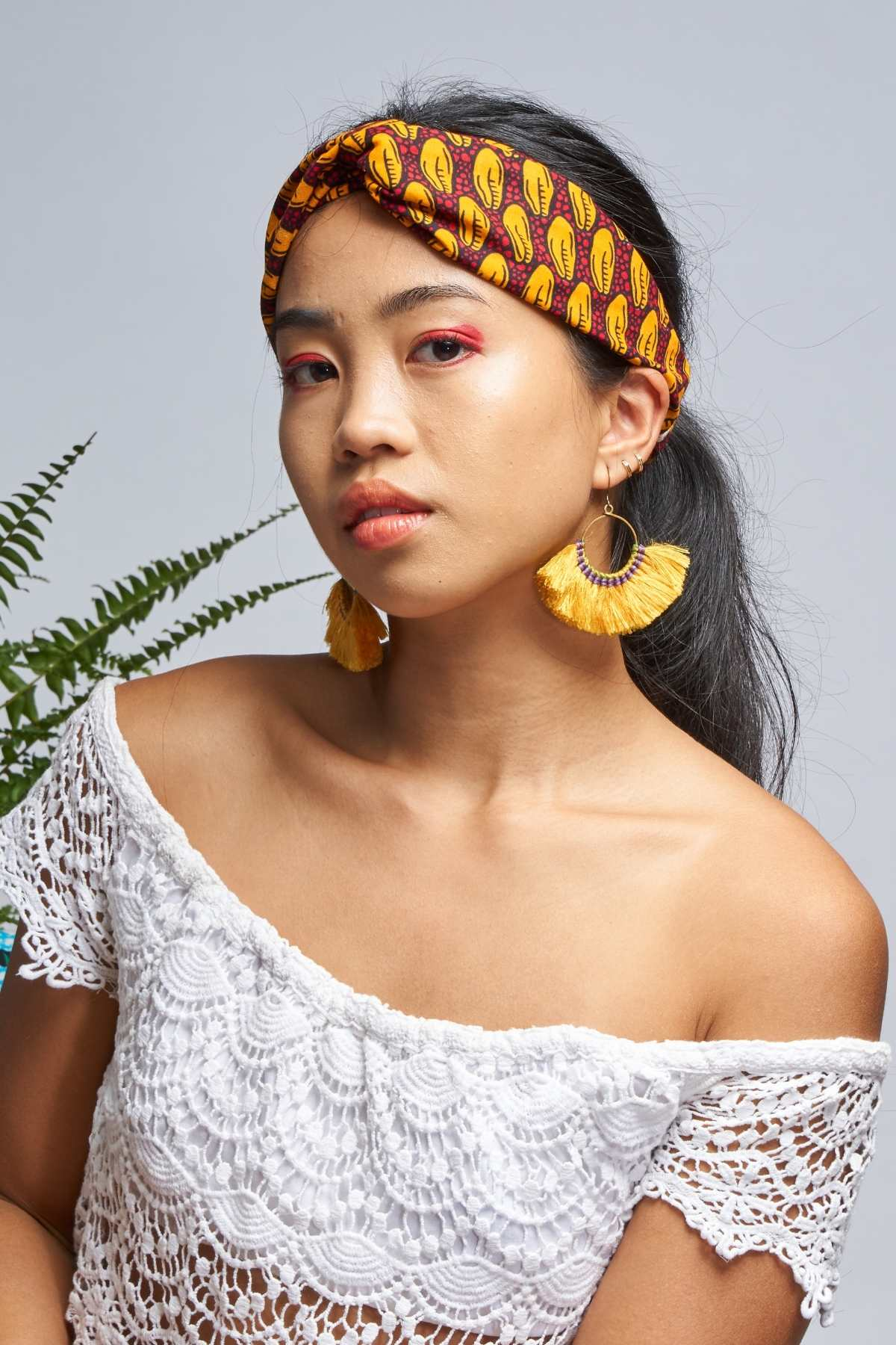 Cowrie Red/Yellow Turban Headband