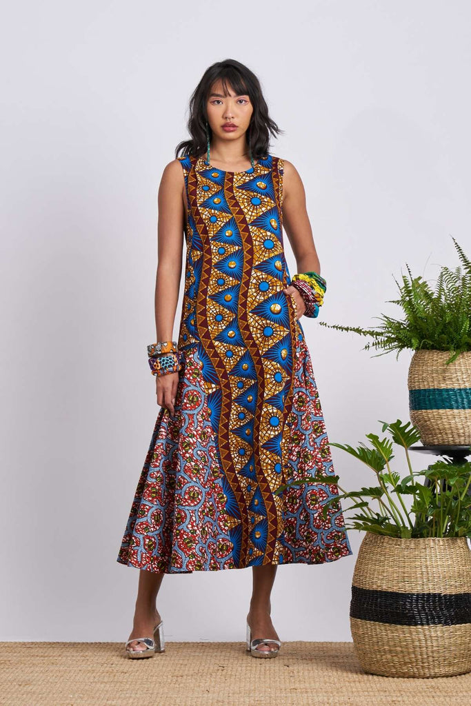 Shani Dress - Blue & Brown