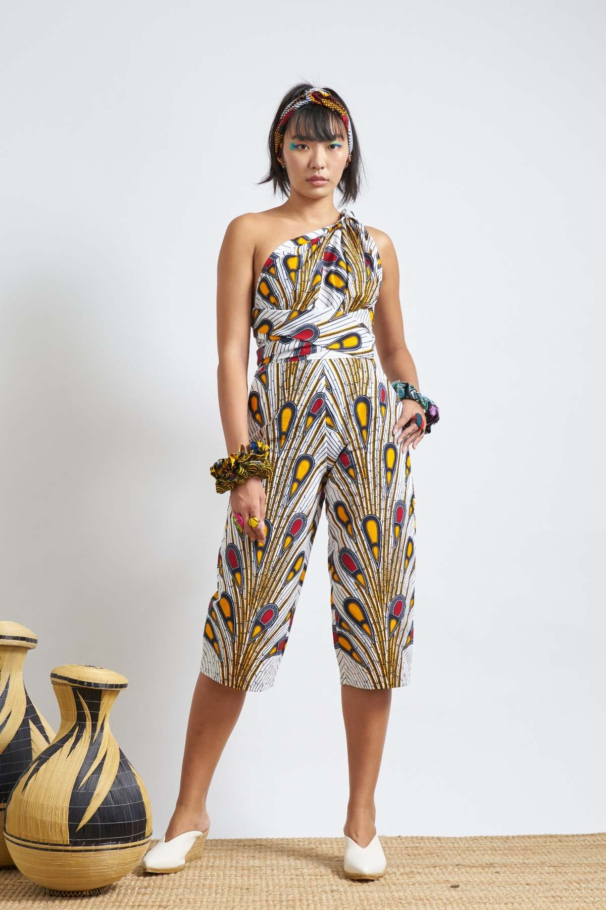 Chinwe Culottes Infinity Jumpsuit - White Peacock