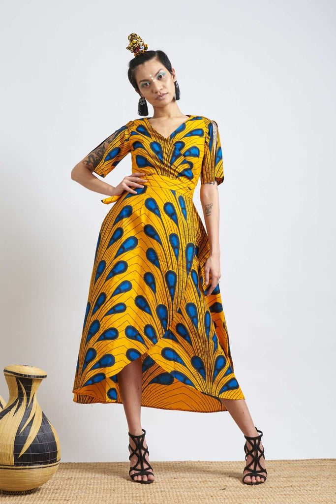Jamala Wrap Dress - Yellow Peacock