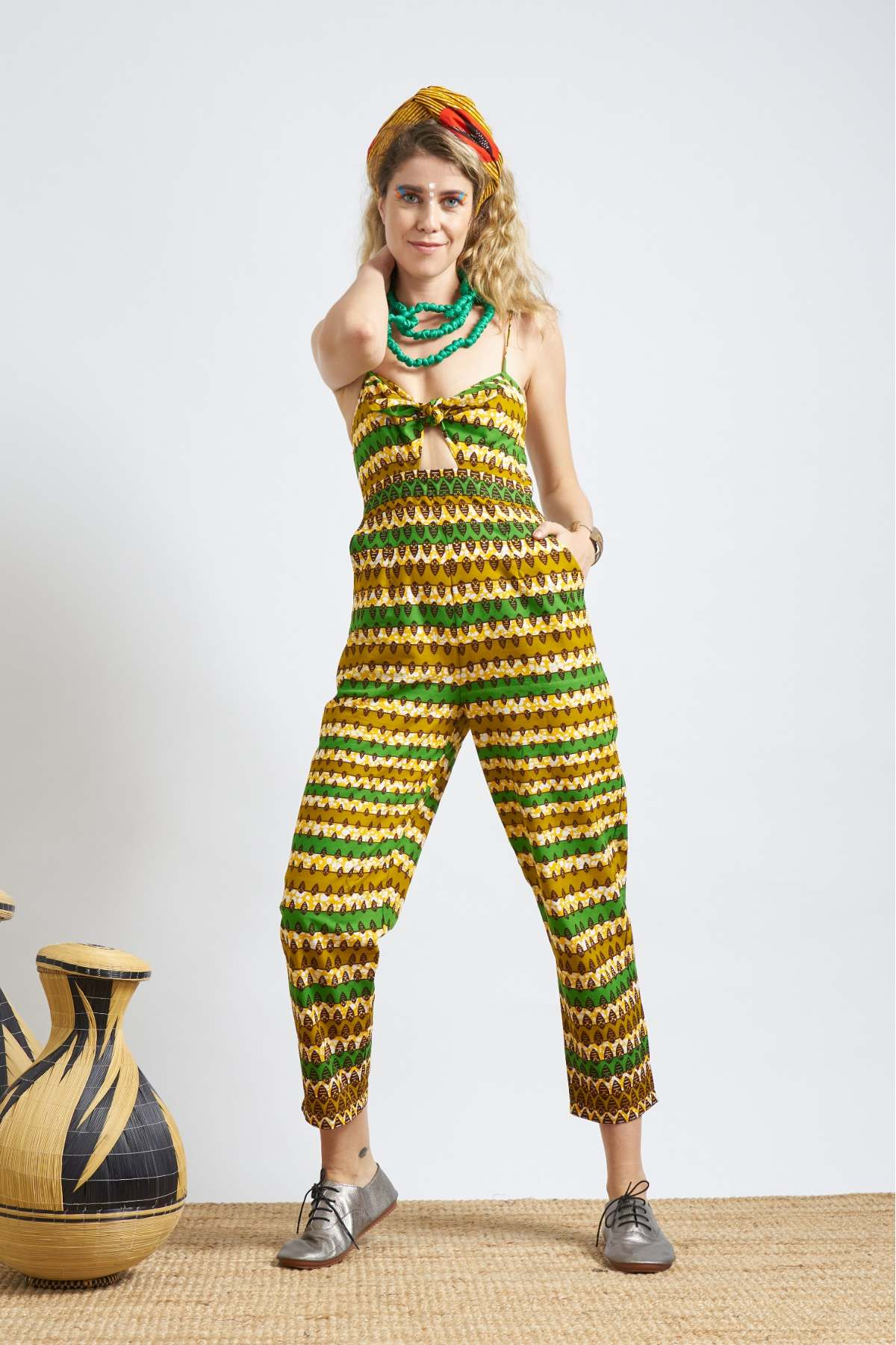 Enu Tie Front Jumpsuit - Yellow & Green