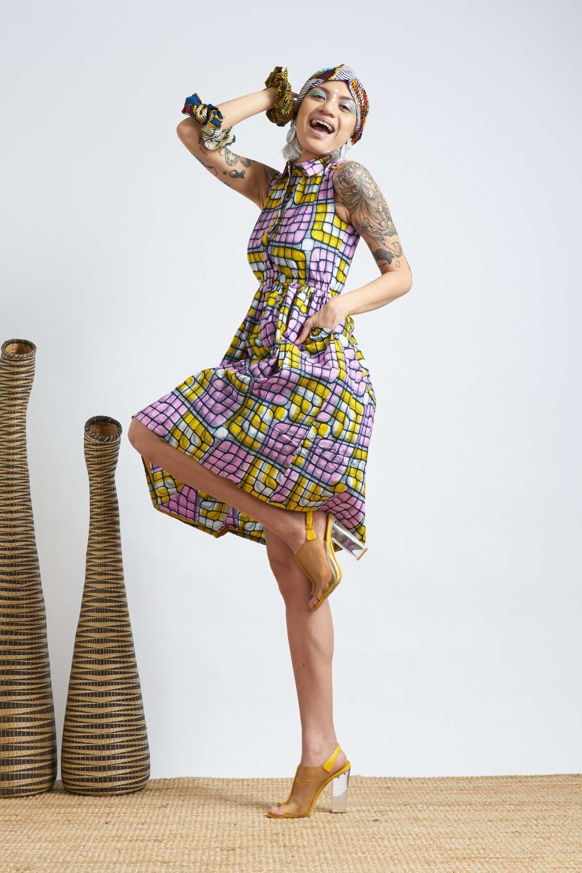 Rehema Dress - Pink & Yellow