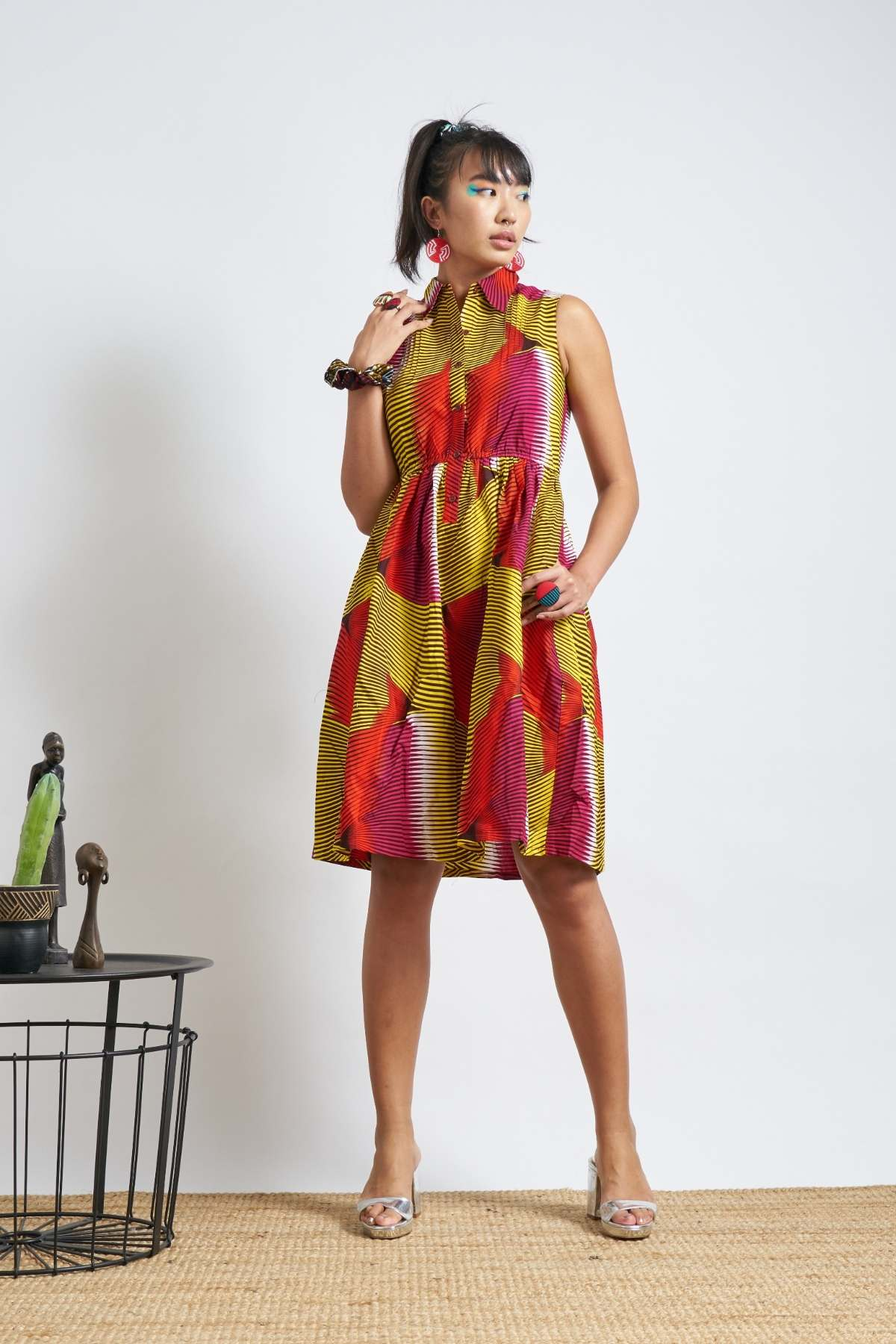 Rehema Dress - Red & Yellow