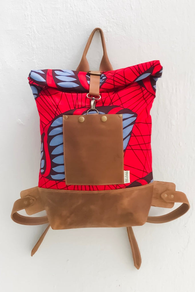Bepu Red Spiderweb Rolled Backpack