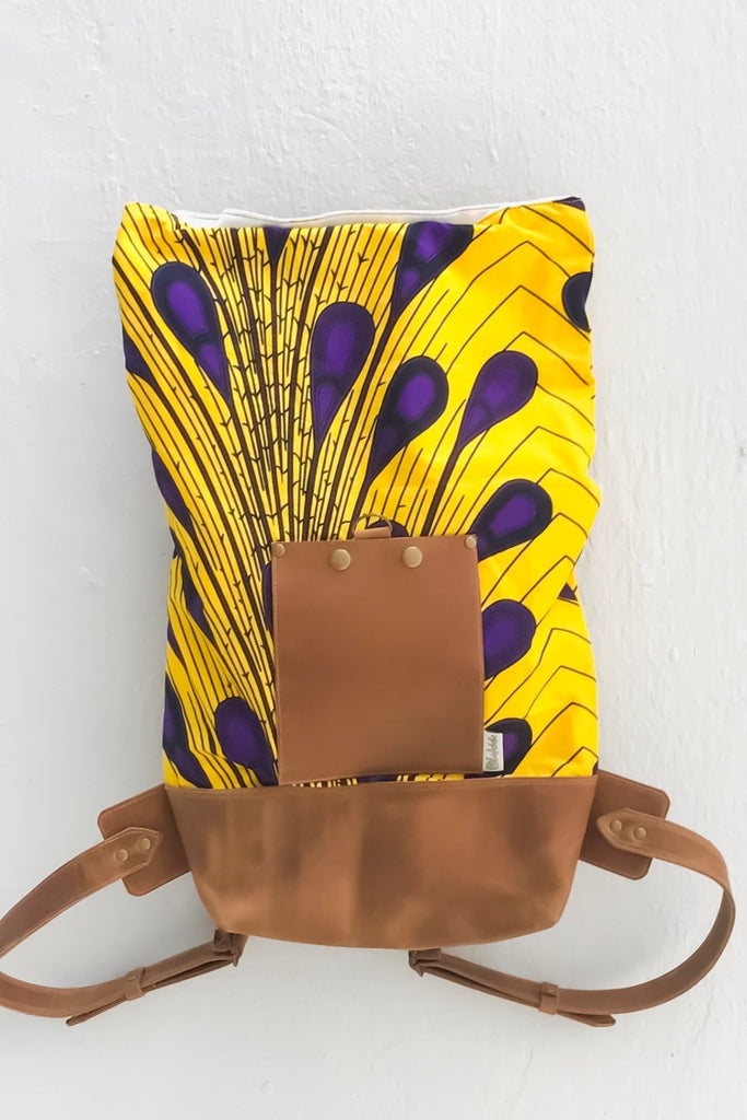 Bepu Yellow/Purple Peacock Rolled Backpack