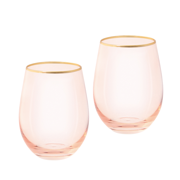 Tumbler Glasses Rose Crystal Set of 2