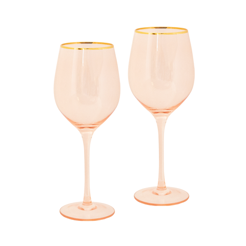 Wine Glass Rose Crystal - Set of 2