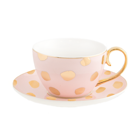 Teacup & Saucer Polka D'Or Blush