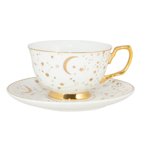 Teacup & Saucer It's Written in the Stars Ivory & Gold