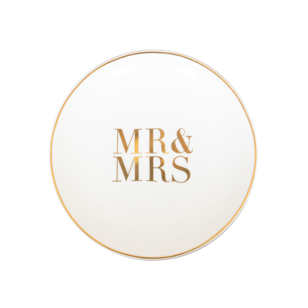 Mr & Mrs Trinket Dish - Ivory & Gold