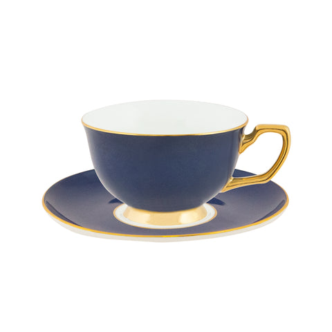 Teacup & Saucer Navy & Gold