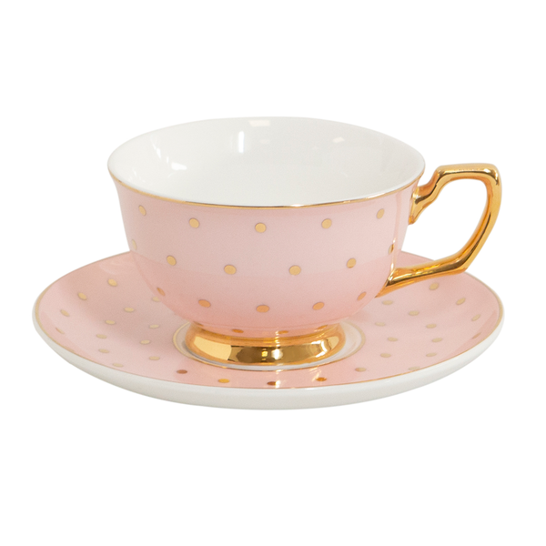 Teacup & Saucer Polka Gold Blush