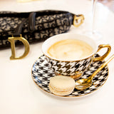 Teacup & Saucer Ebony Houndstooth