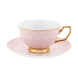 Teacup & Saucer Blush Polka - Porcelain