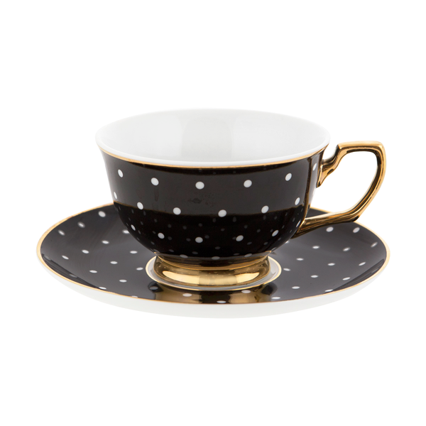 Teacup & Saucer Ebony Polka