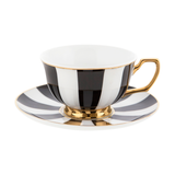 Teacup & Saucer Ebony Stripes