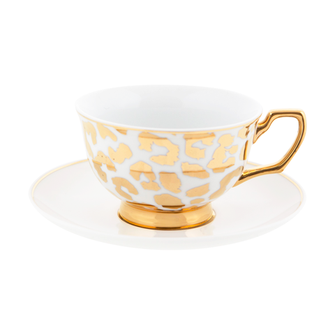 Teacup & Saucer Louis Leopard Gold