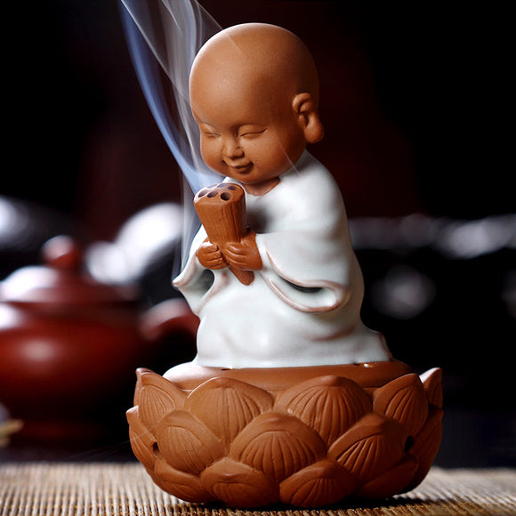 Religious Monk Censer Ceramic Disc Aromatic Incense Burner