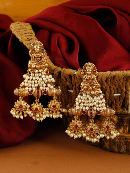 Ruby And Golden Aarna Pearl Earrings