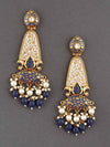 Navy Mogra Dangler Earrings