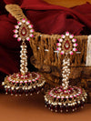 Maroon Jacki Jhumki Earrings