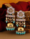 Turquoise Fulwari Jhumki Earrings