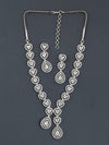 Antique Heart Rodium Zirconia Necklace Set