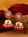 Red Charita Jhumki Earrings