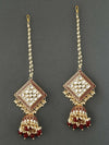 Maroon Kanha Kundan Earrings
