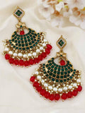 Emerald Mahadevi Gold Plated Ethnic Necklace with Earrings