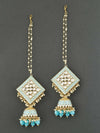 Baby Blue Kanha Kundan Earrings