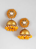 Mustard Charita Jhumki Earrings