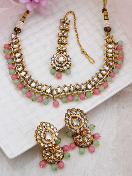 Emerald Hexagonal Gold Plated Ethnic Necklace with Earrings