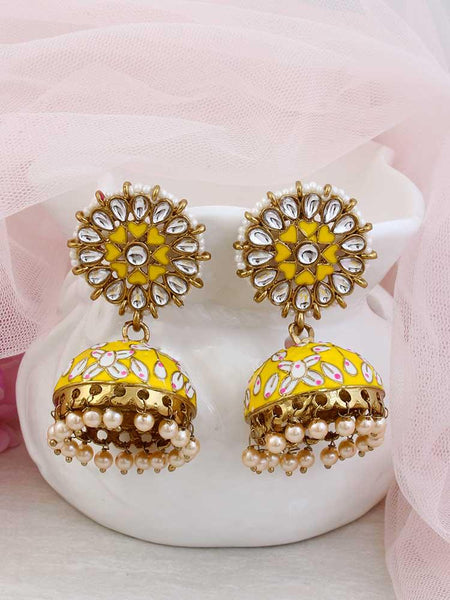 Ruby Dhan Lakshmi Gold Plated Temple Necklace Set with Earrings