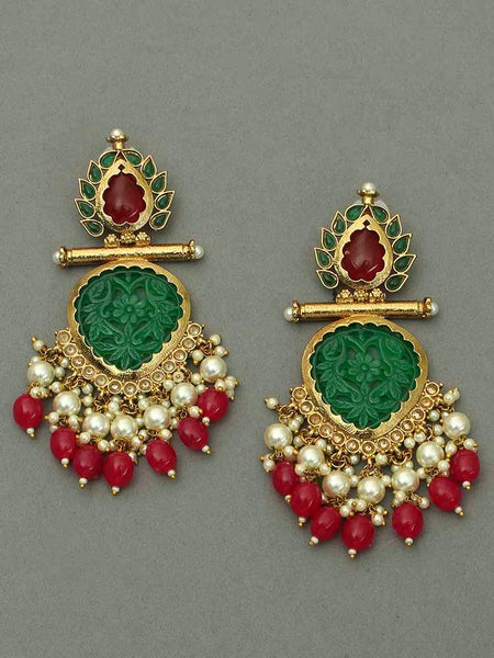 Jade Ruby Aaloka Designer Earrings