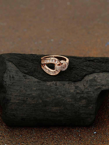 Rose Gold Kamesh Zirconia Ring
