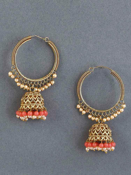 Coral Rishi Jhumki Earrings