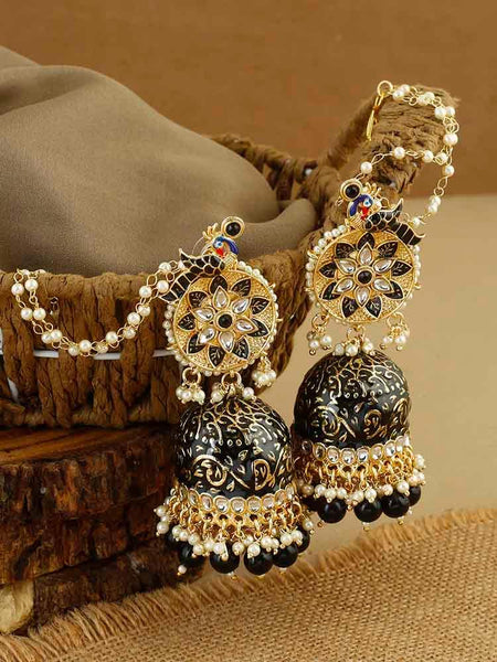 Jet Mahati Sahara Jhumki Earrings