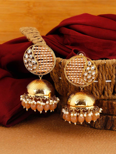 Brown Tanu Jhumki Earrings