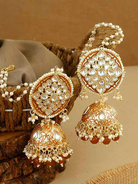 Brown Kaaynat Jhumki Earrings