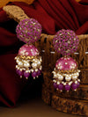 Purple Daliha Jhumki Earrings