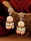 Peach Sarika Jhumki Earrings