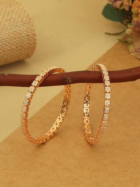 Rose Gold Abhilash Zirconia Bangles