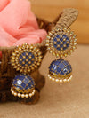 Blue Suraj Jhumki Earrings