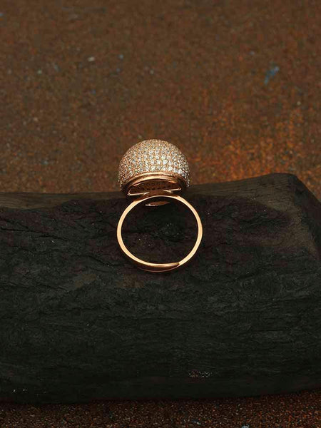 Rose Gold Chitrali Adjustable Zirconia Ring