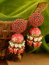 Coral Daliha Jhumki Earrings