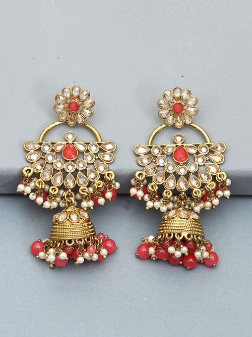 Coral Semicircle Jhumki Earrings
