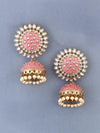 Coral Suraj Jhumki Earrings