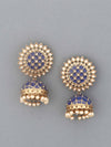 Dark Blue Suraj Jhumki Earrings