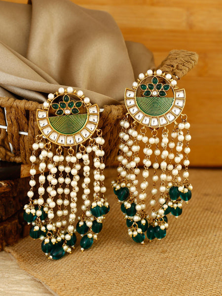 Emerald Annapurna Gold Plated Temple Earrings